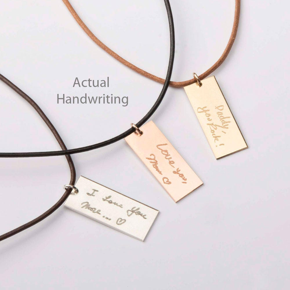 Custom Handwriting Leather Necklace-For Him-Father-Boyfriend-Personalized Memorial Signature-Kids Drawing-Gold-Rose-Silver-Cg284N 1.25x.5