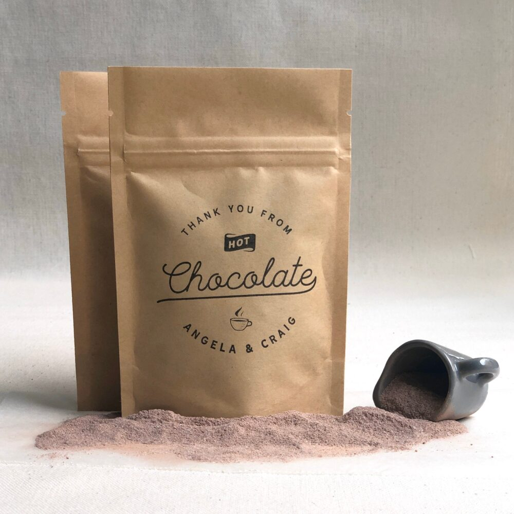 Hot Chocolate Bags, Winter Wedding Favors, Cocoa Favours - Pouches Only