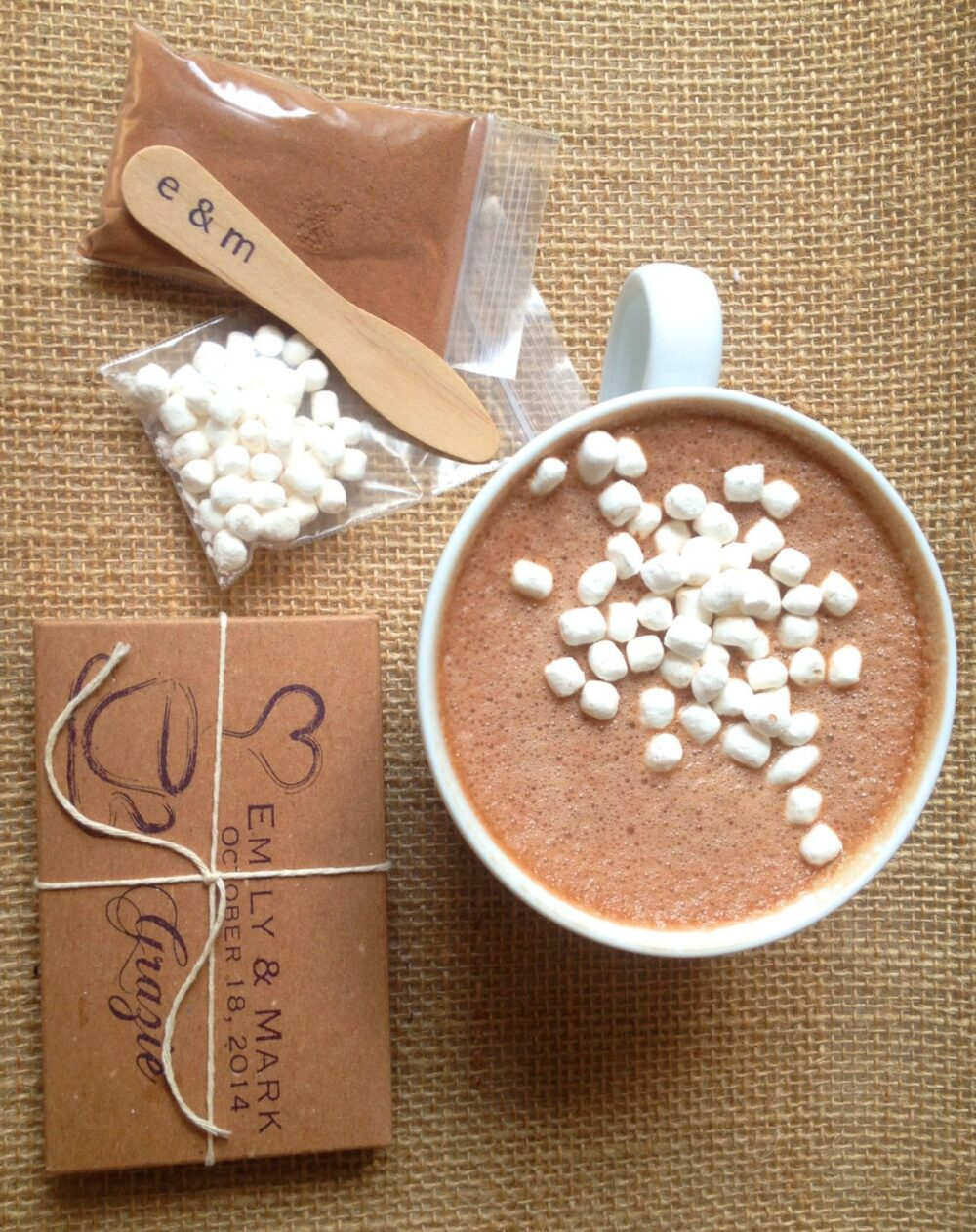 Unique Hot Chocolate Wedding Favors. Homemade Cocoa Favors With Mini Mallows & Stirring Spoon. Set Of 50 Custom Stamps
