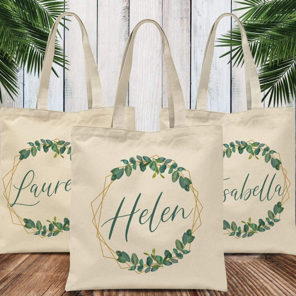 Bridesmaid Gift Tote Bag With Name, Leaf Wreath Custom For Bridal Party
