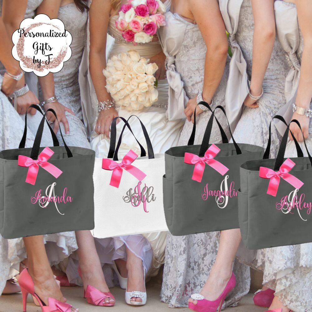 Personalized Bridesmaid Gift Tote Bag - Wedding Party Gift - Bridal Initial Tote - Mother Of The Bride   Ess1
