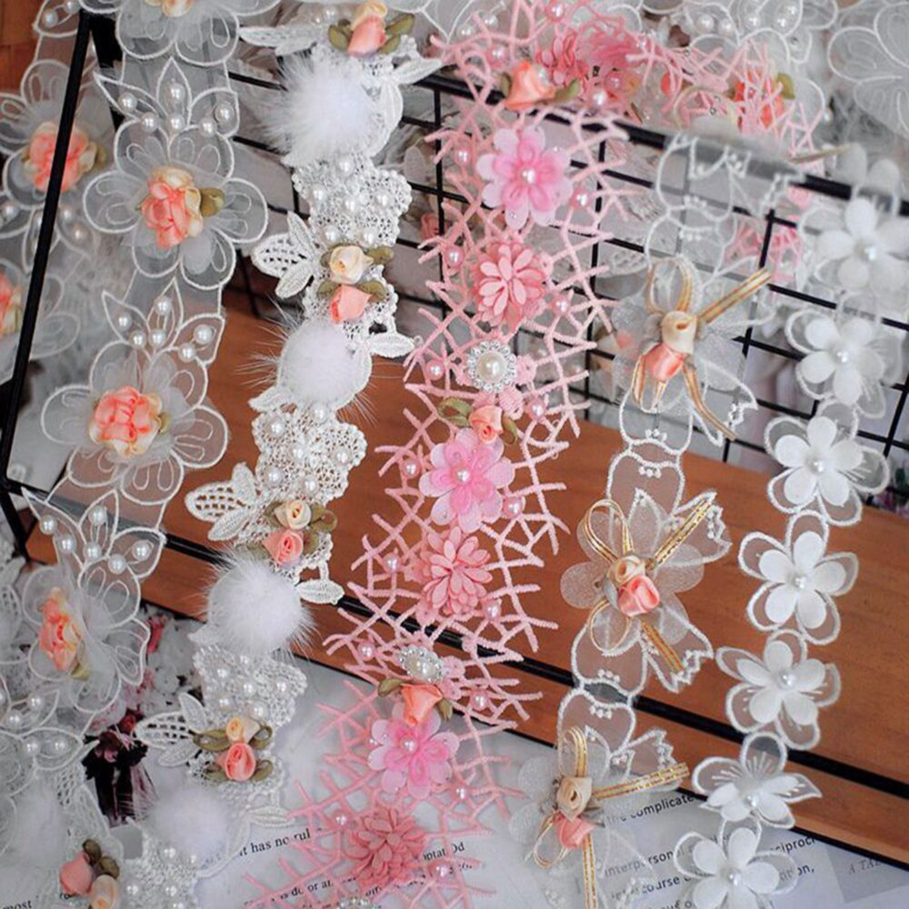 Exquisite Flower Ribbon Trim By Yard Beaded Floral Fringe Delicate Party Accessories Sewing Supplies Crafts