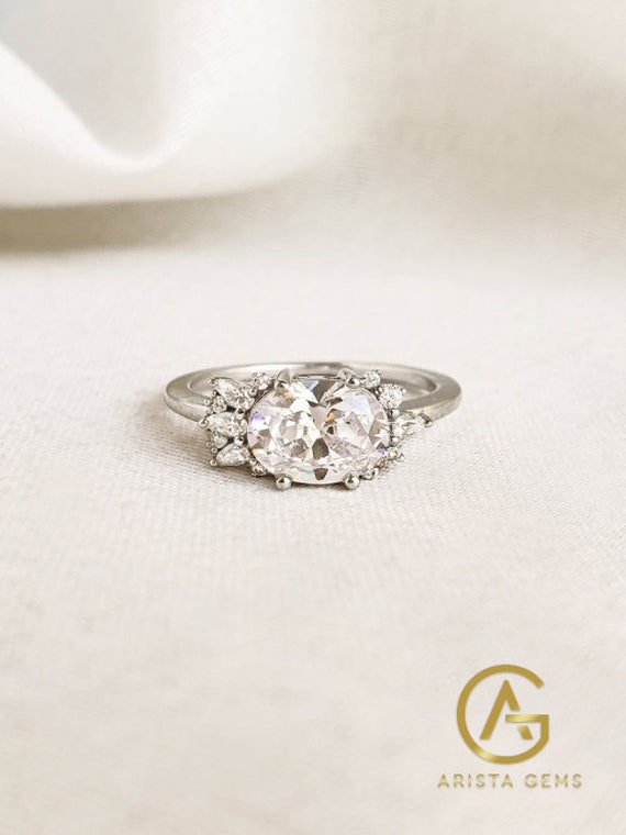 2.00Ct Oval Cut Engagement Moissanite Ring East West Cluster Bridal 14K Solid Gold Wedding Anniversary Gift For Women