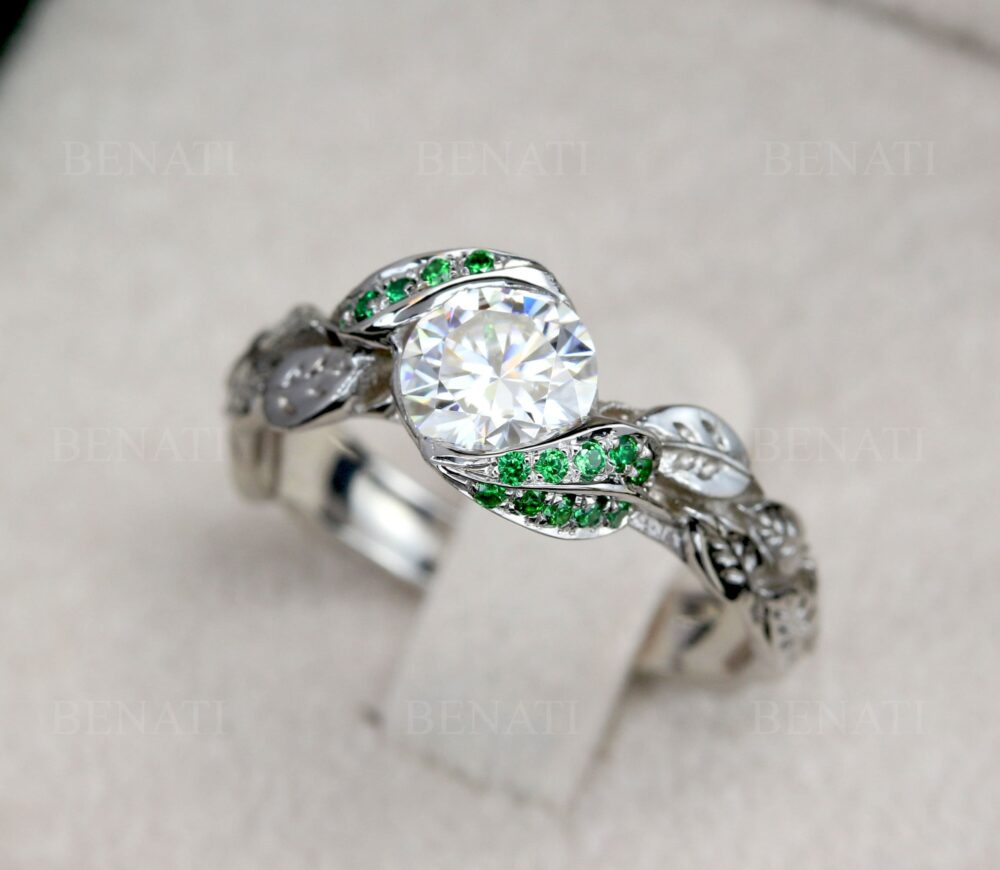 White Leaf Ring, Emerald Leaf Engagement Moissanite Ring With Stone, Wedding Floral Gold 18K