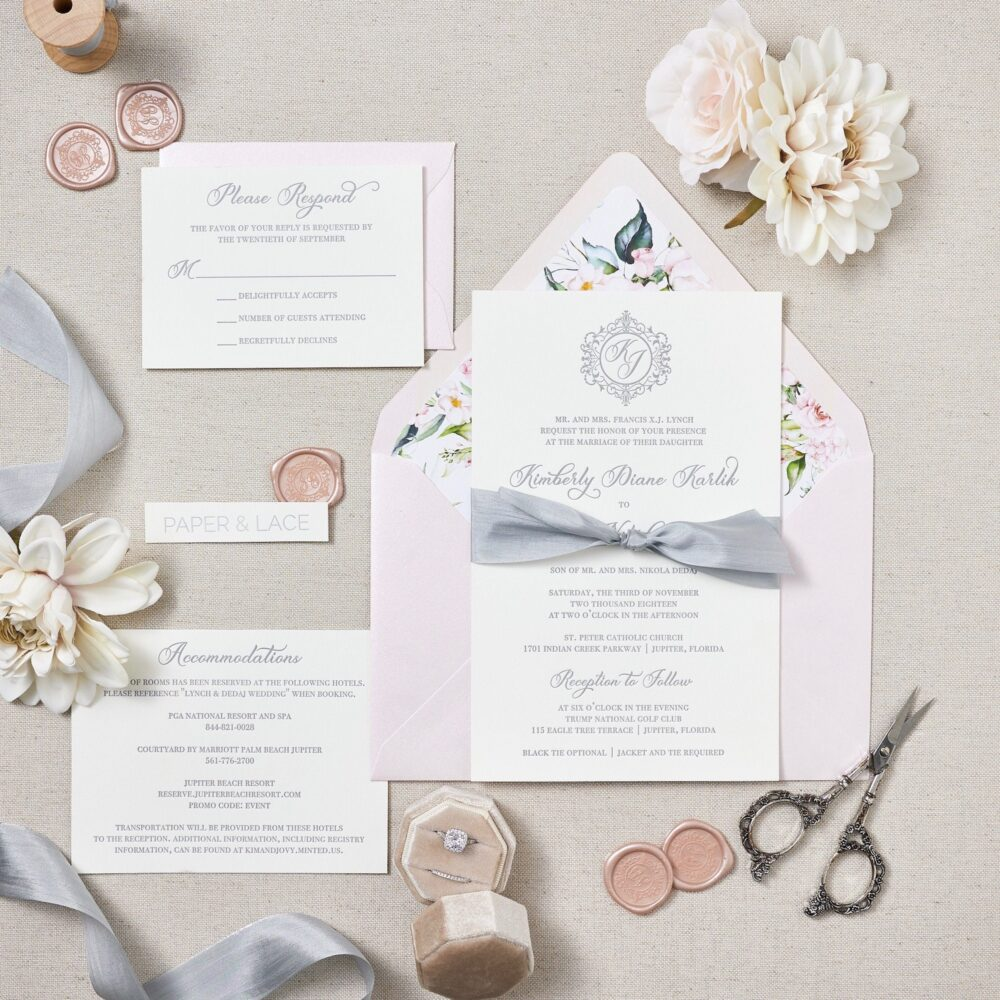 Kimberly - Letterpress Wedding Invitation Double Thick 100% Cotton Pearl White Card Stock With Grey Silk Ribbon & Floral Envelope Liner