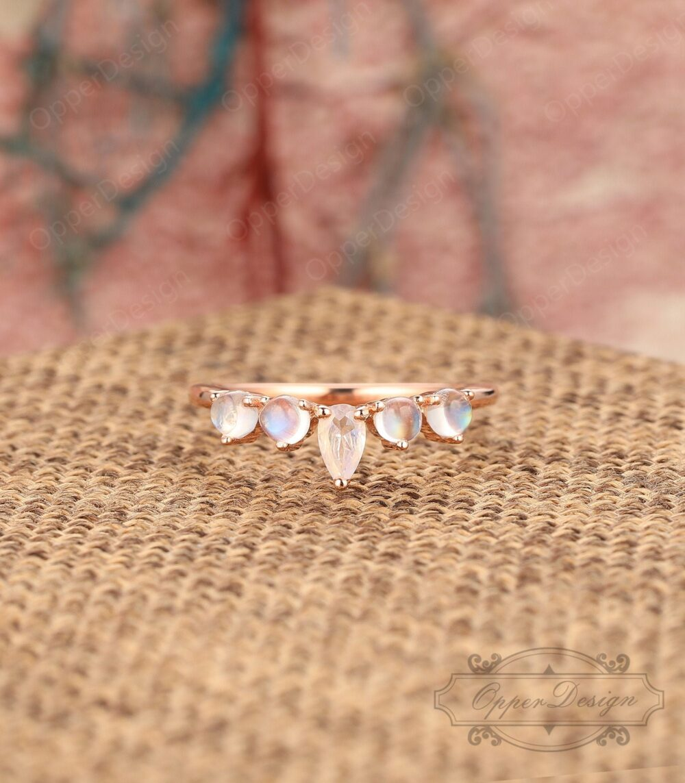 Natural Moonstone Wedding Band, Solid Gold Engagement Ring, Rainbow Stacking Daily Five Gemstones Ring Rose Band
