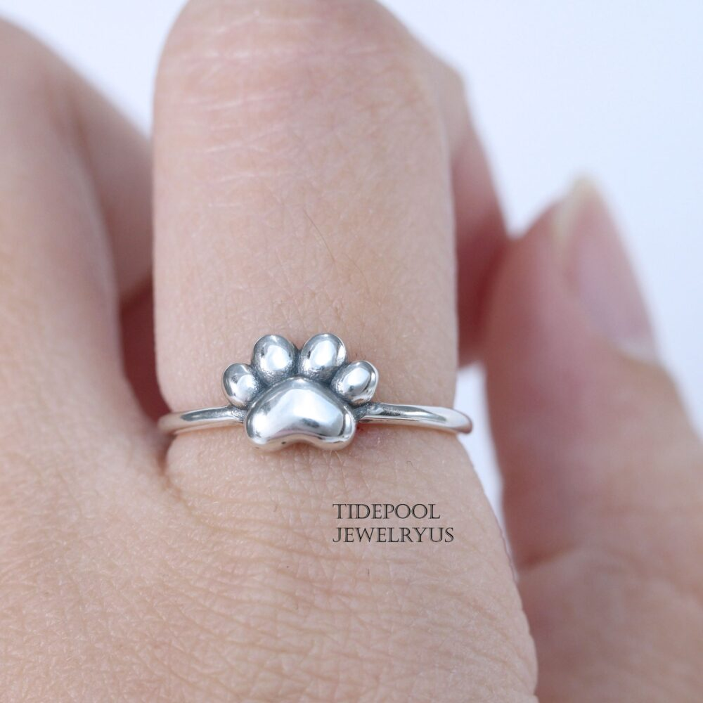 Sterling Silver Little Paw Ring, Pet Lover Ring, Pinky Silver Thumb Statement Ring