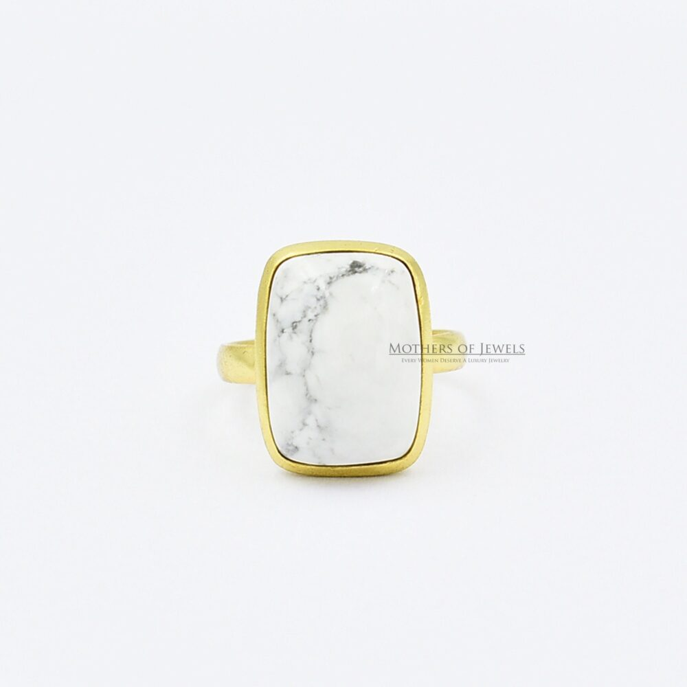 Howlite Love Ring, Elegant Natural Gemstone Gold Plated Cabochon Sterling Silver Handcrafted Gift Ring For Girls