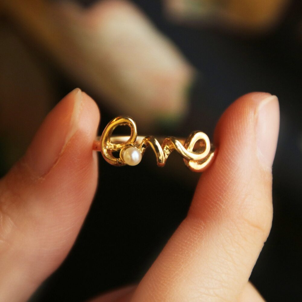 Love Ring, Dainty Gold Scrip Love Sterling Silver Promise Ring