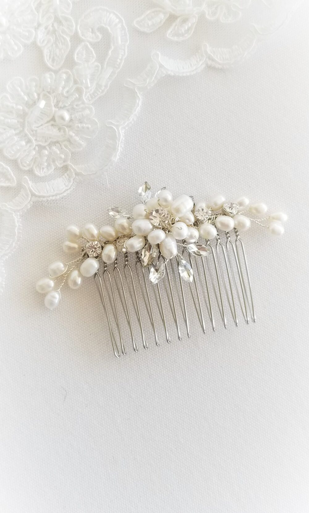 Freshwater Pearl Wedding Hair Comb, Small Crystal Bridal Comb For Bride