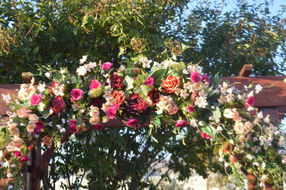 Bohemian Wedding Arch, Archway Swag, Ceremony Arch Flowers, Coral Mantle Swag