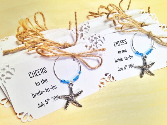 starfish Wine Charms For Wedding Favors, Bridal Shower Birthday Retirement Party Favors. Theme. 80 To 100