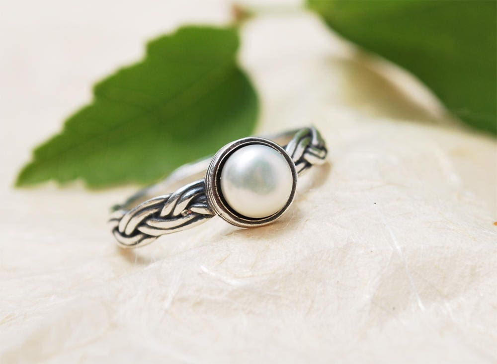 Boho Pearl Ring, Silver Jewelry, Braided Unique Promise Purity June Ring