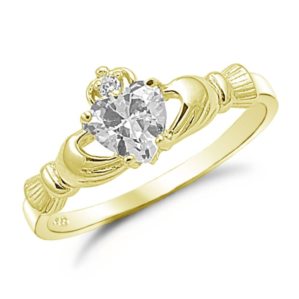 Claddagh Ring, Diamond Cz Gold Plated 925 Sterling Silver Promise Engagement Purity Friendship Ring