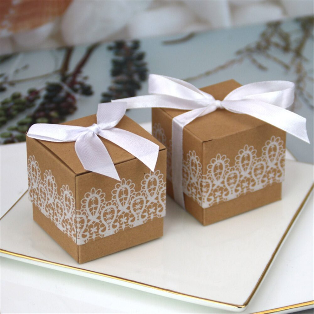 Rustic Kraft Wedding Favor Boxes With White Lace-Creative Paper Candy Boxes-Lace Kraft Favor Box Ribbon&bow For Wedding Birthday Party