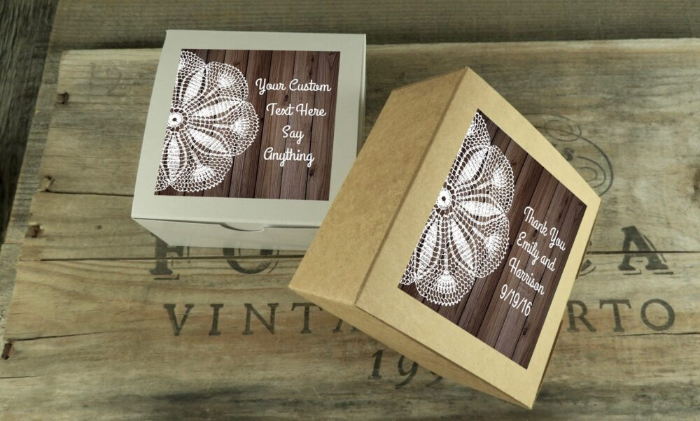 Donut Favor Boxes With Personalized Wood & Lace Labels   Cookie Box Party Shower Wedding Bakery - Dbx Wd
