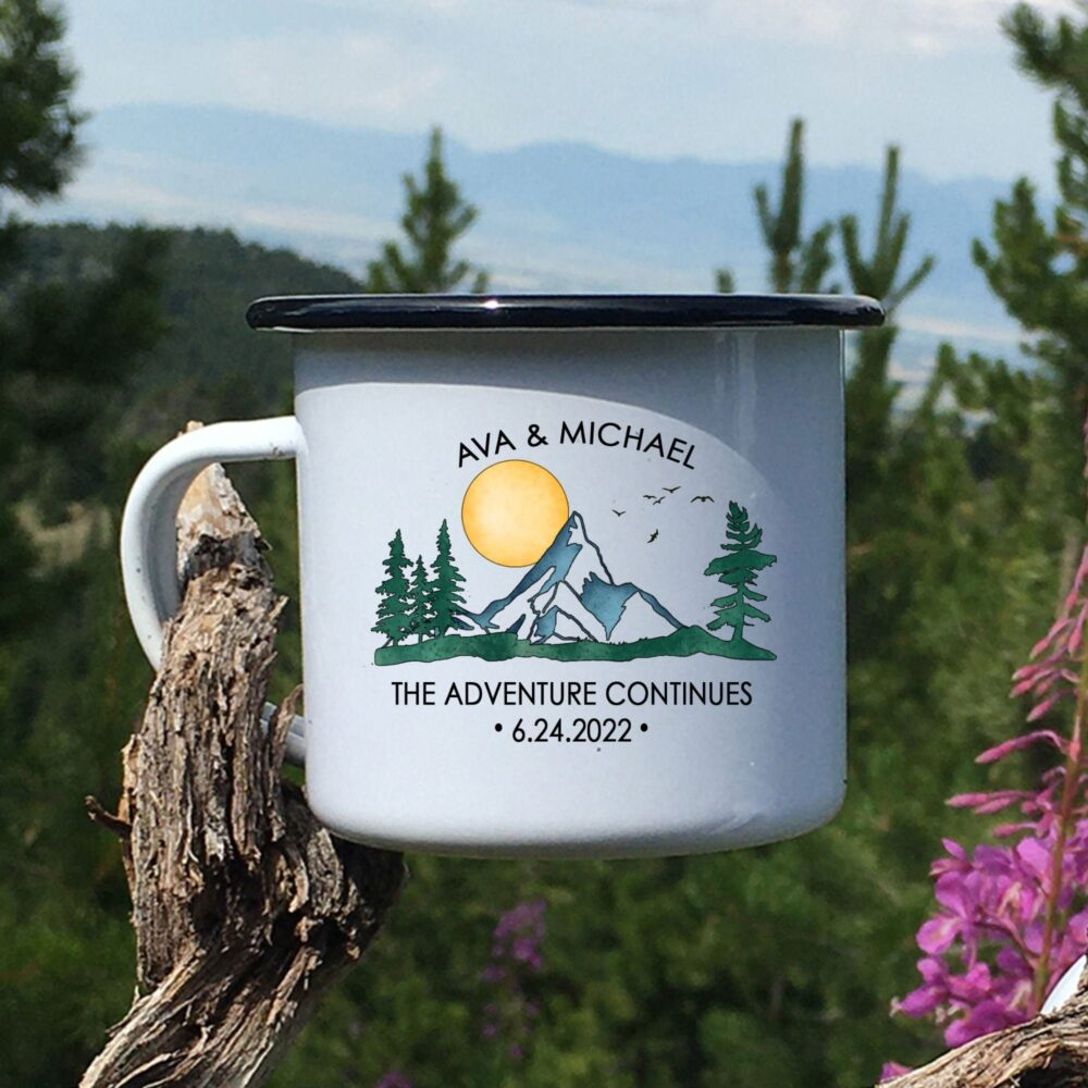 Personalized Mountain Wedding Camping Mug, Adventure Mr Mrs Couples Campfire Mugs, Custom Watercolor Engagement Gift For Bride Groom