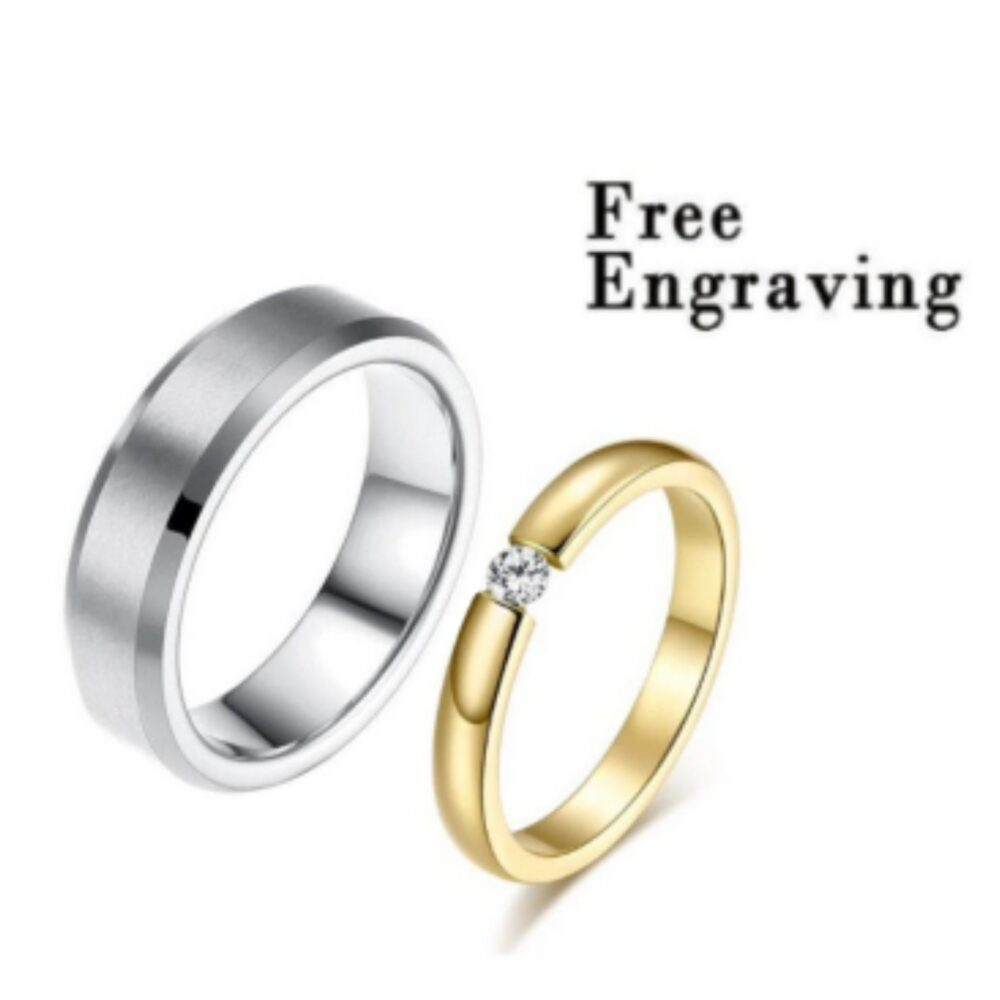 Promise Ring Set, Set For Him & Her, Matching Promise Rings, Gold Silver Ring Couples, Matching Rings Custom Engraving