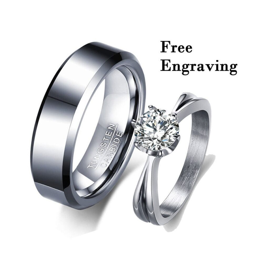 Promise Rings For Couples, Couples Ring Set, Couple Rings, Matching Couple, Engraved
