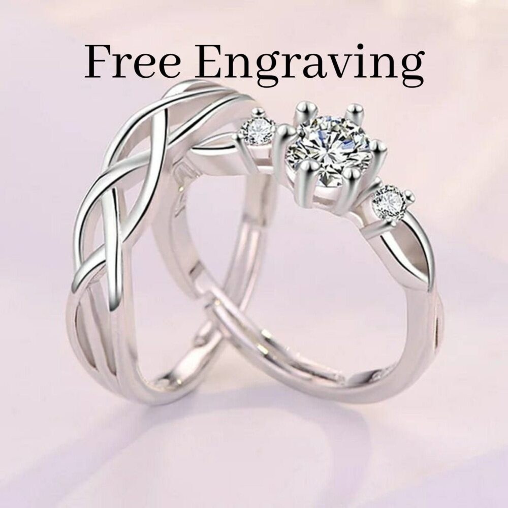 Silver Couple Promise Ring Set, Adjustable Sterling His & Her Ring, Promise Ring Couple Engravable Zircon