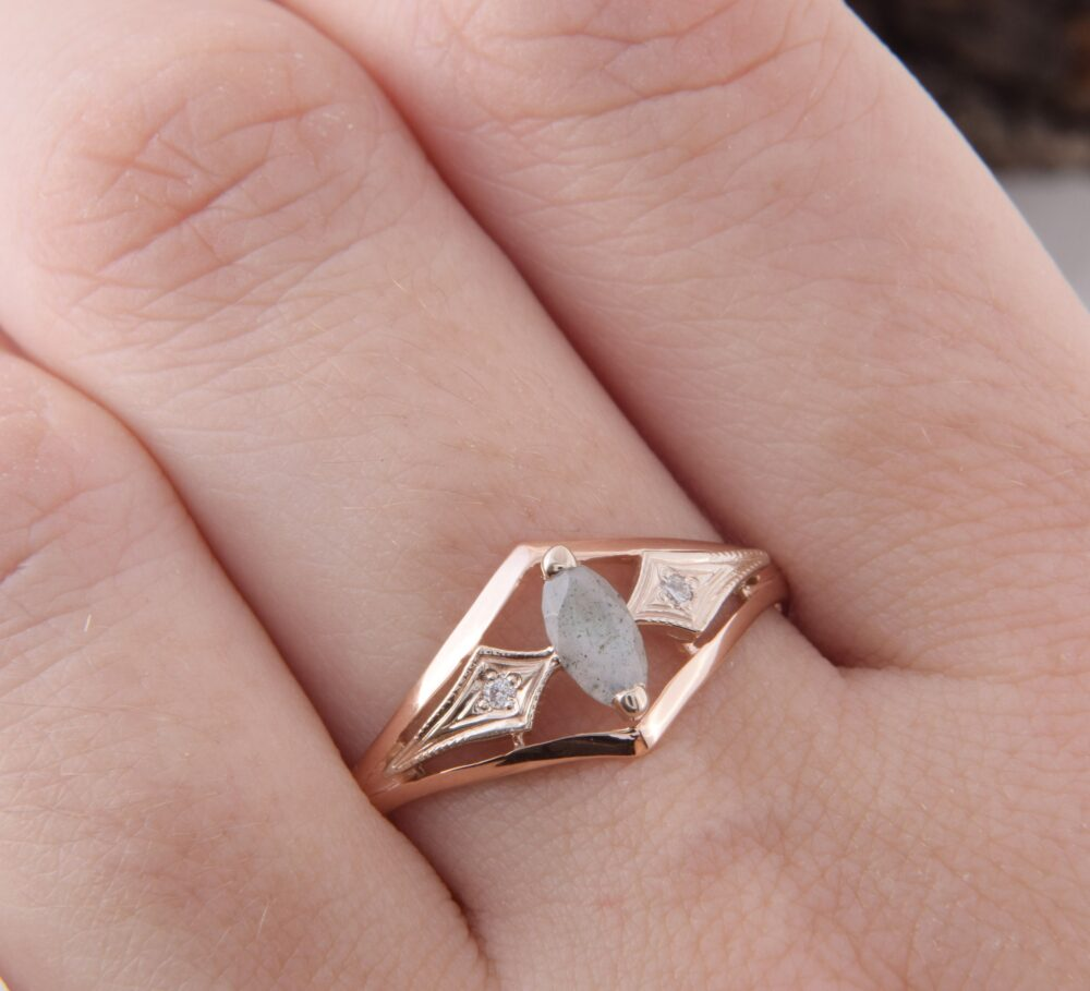 14K Rose Gold Labradorite Promise Ring For Her, Unique Art Deco Womens Ring, Dainty Marquise Womens
