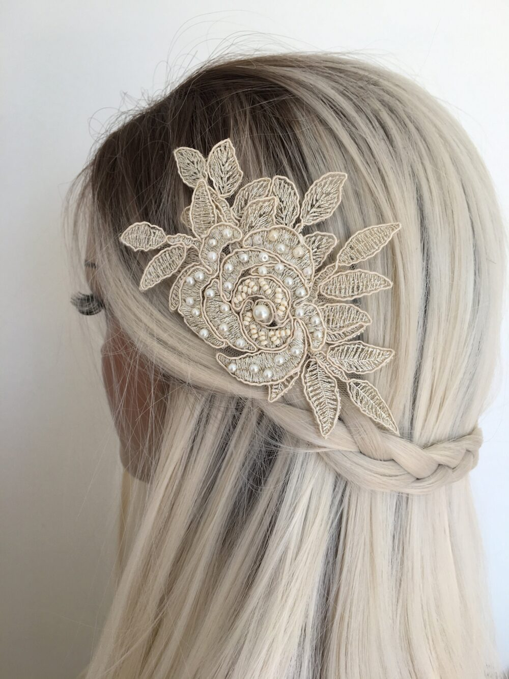Bridal Hair Comb, Hairpiece, Lace Headpiece, Floral Comb, Accessories, Hair Comb Champagne Lace