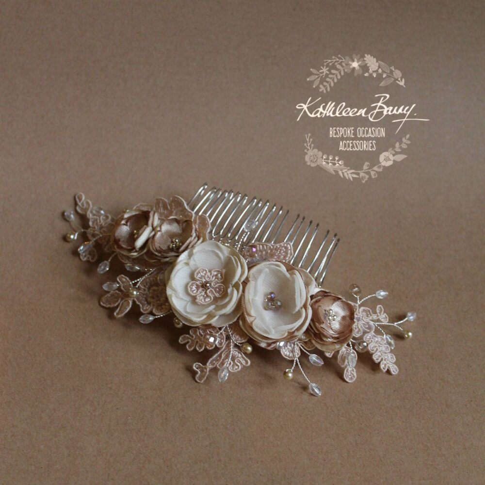 Floral Cafe Latte Lace Bridal Hair Veil Comb, Luxury Handmade Flowers, Crystals & Pearls Wedding Accessories Style Linda