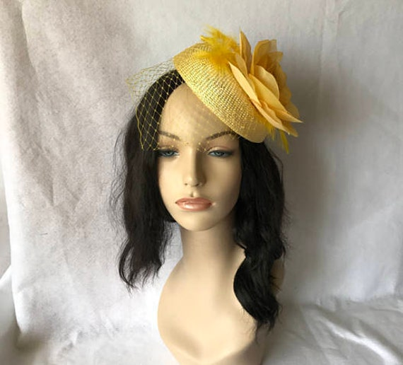 Yellow Fascinator Hat For Wedding, Mother Of Bride, Kentucky Derby, Tea Party, Kate Middleton Hat, Cocktail The Races