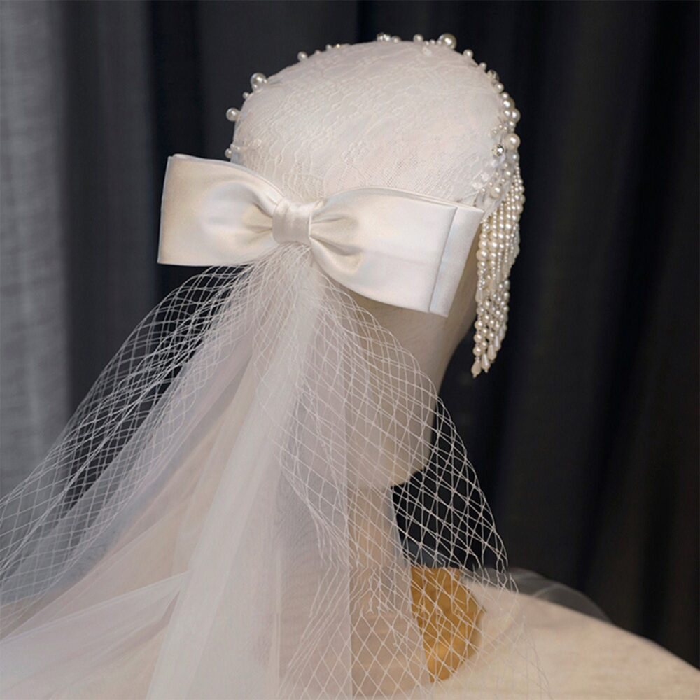 Vintage Inspired Bridal Wedding White Fascinator Hat With Veil Faux Pearls, Antique Long Bow