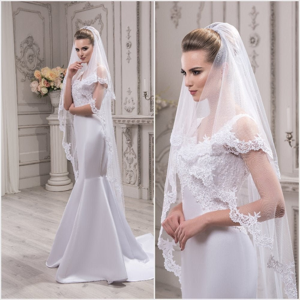 Lace Wedding Veil Kate, Fingertip Veil, Chapel Cathedral Veil , Two-Tier Chapel Length Lace Edge With Comb