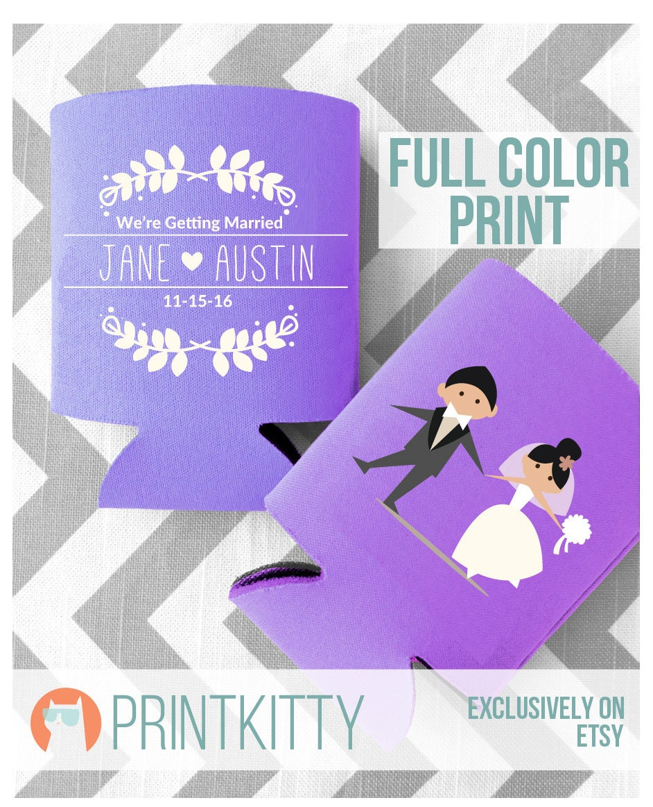 Wedding Can Coolers, Koozies, Personalized Gifts, Customized Full Color Print Vine Design Koozies