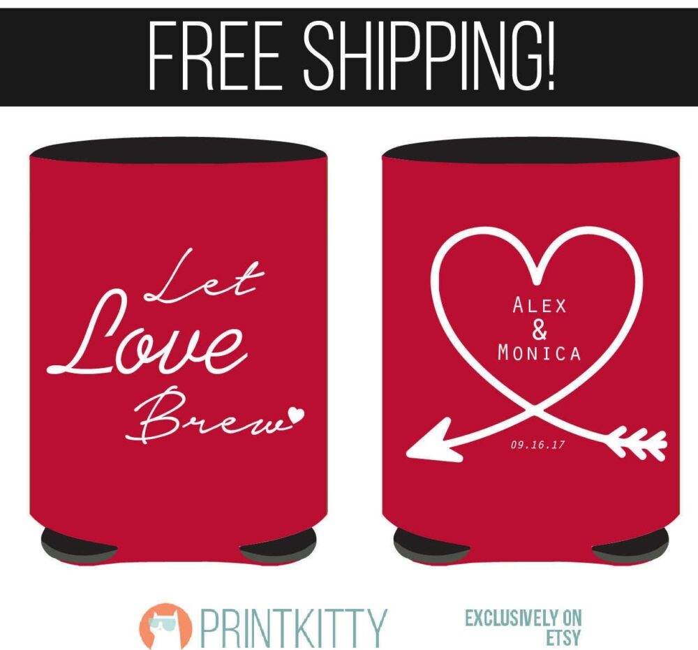 Let Love Brew Wedding Koozies Design, Can Coolers, Koozies, Personalized Party Gifts   93