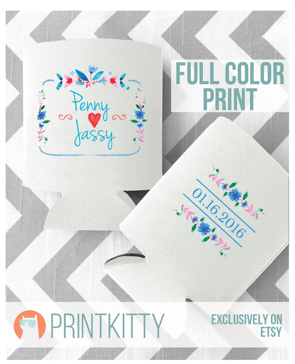 Wedding Can Coolers, Koozies, Custom Gifts, Customized Full Color Print Wild Flowers Koozies Design