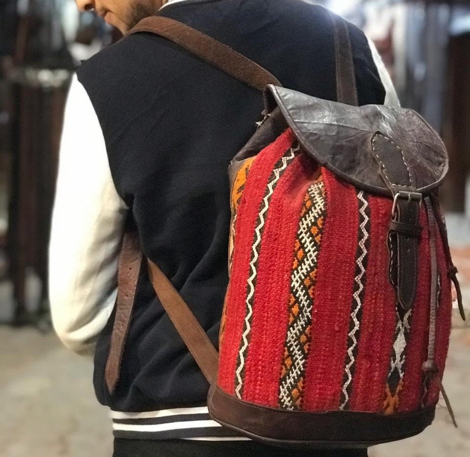 Vintage Backpack Moroccan Handmade Leather With Kilim Rustic Boho Style, Gift Mother's Day