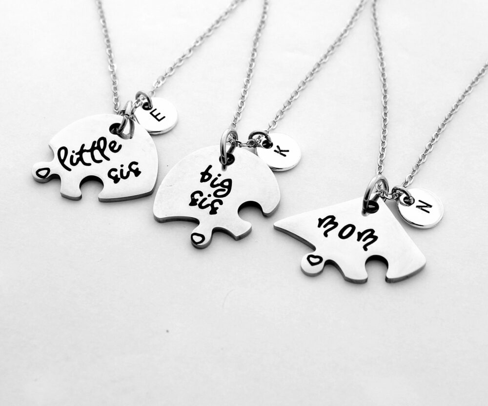 Initial Letter , Big Sis Lil Necklace Mother Daughter Gift Necklace, Mother's Day Gift, Gifts For Mom, Girlfriend Gift, Family Necklace