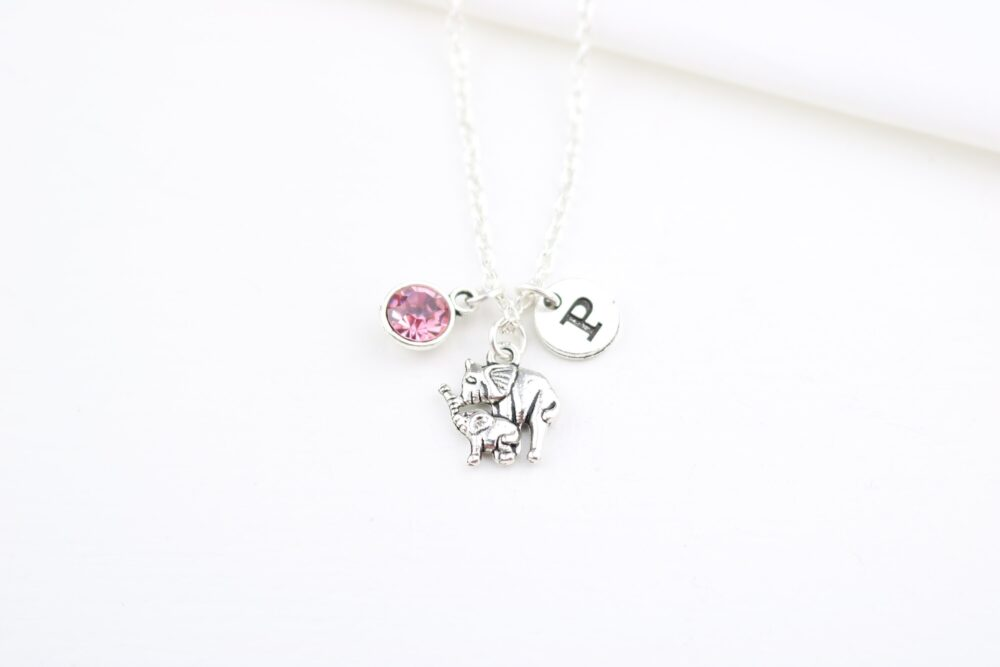 Mom Elephant Necklace, Mother Elephant Gift, & Baby, Jewelry, Calf, Mother's Day Gift