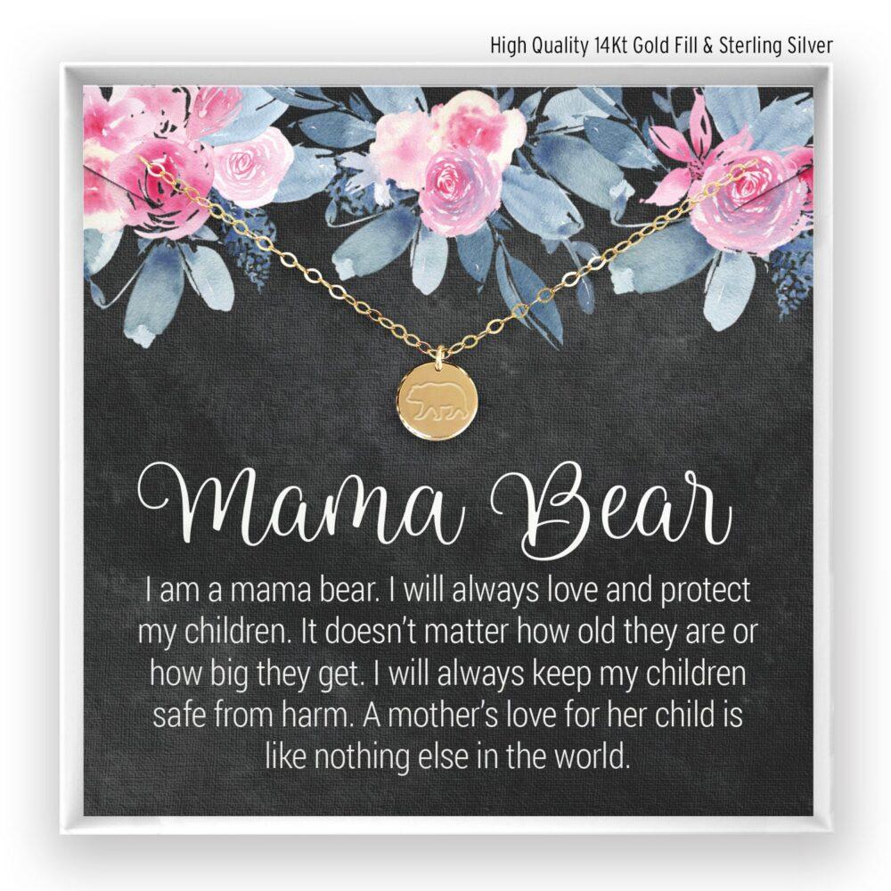 Mama Bear Necklace, Initial Mothers Gift, Personalized Jewelry, Day 14Kt Gold Filled, Rose , Silver