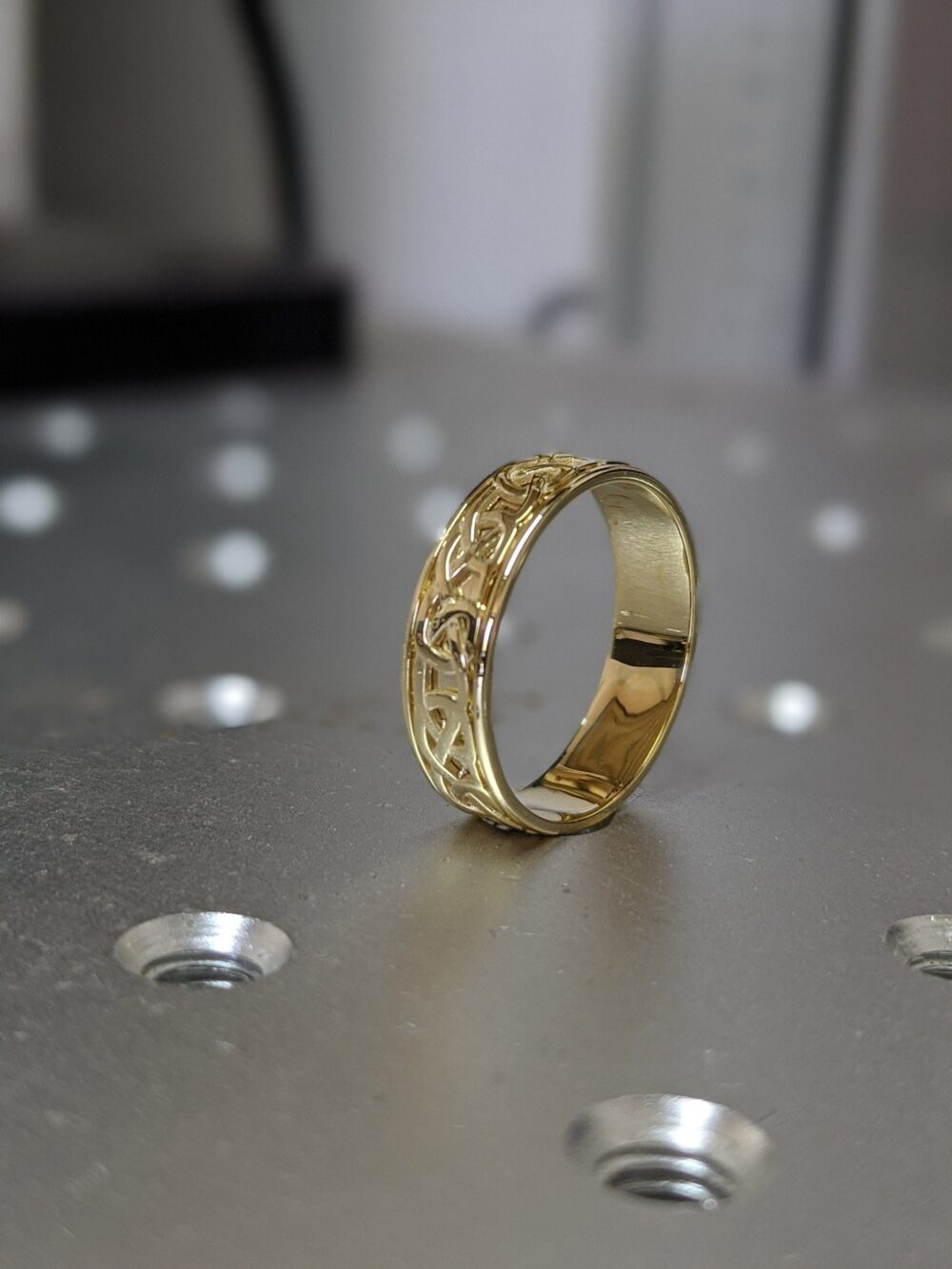 Celtic Yellow Gold Wedding Band Antique Style, 5mm 6mm Unique Celtic Ring, Filigree Unusual Band, Anniversary Ring