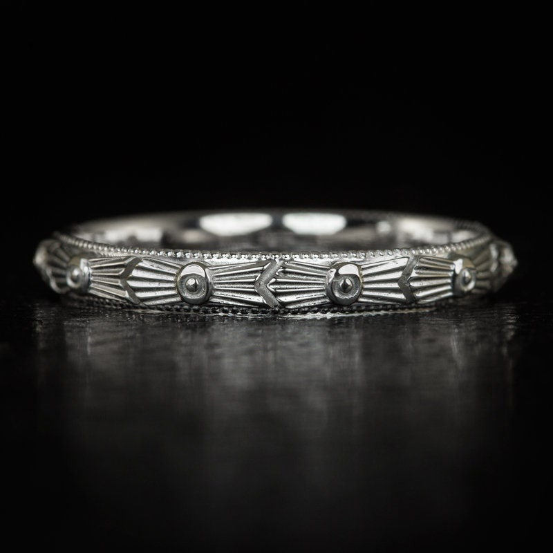 Art Deco Engraved Wedding Band Vintage Style 20S Etched Retro White Gold Ring | 5732