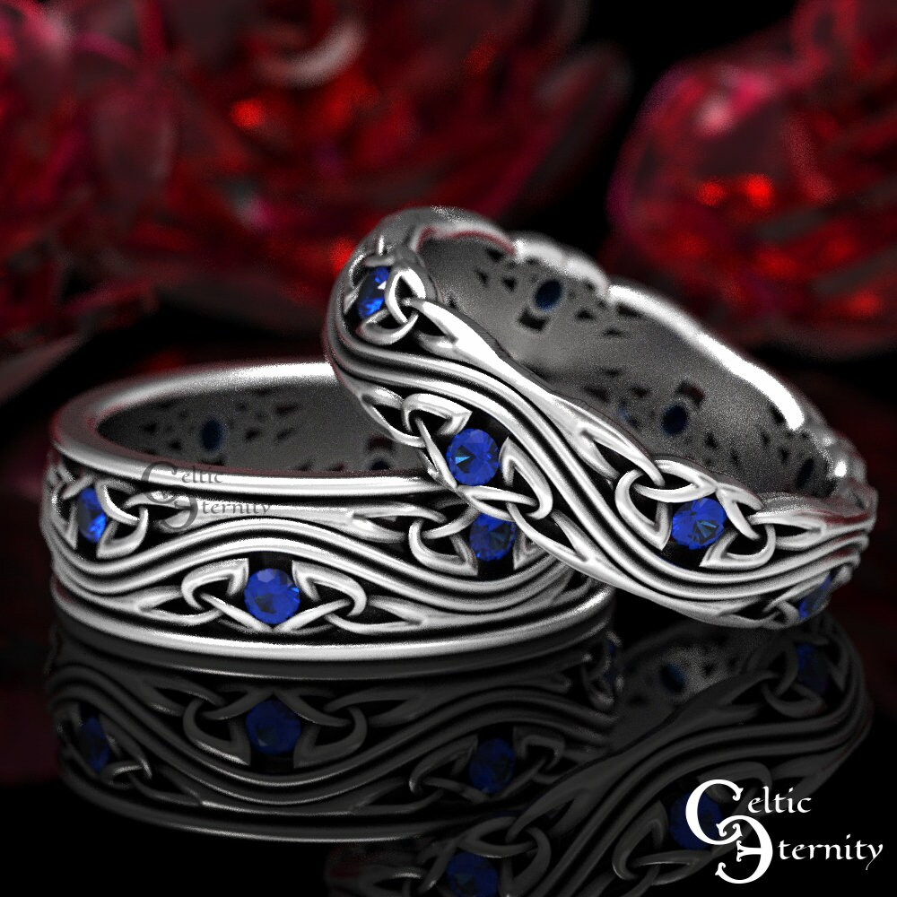sterling Silver Celtic Wedding Band Set With Sapphires, Matching Rings, His Hers Set, 1463 1462