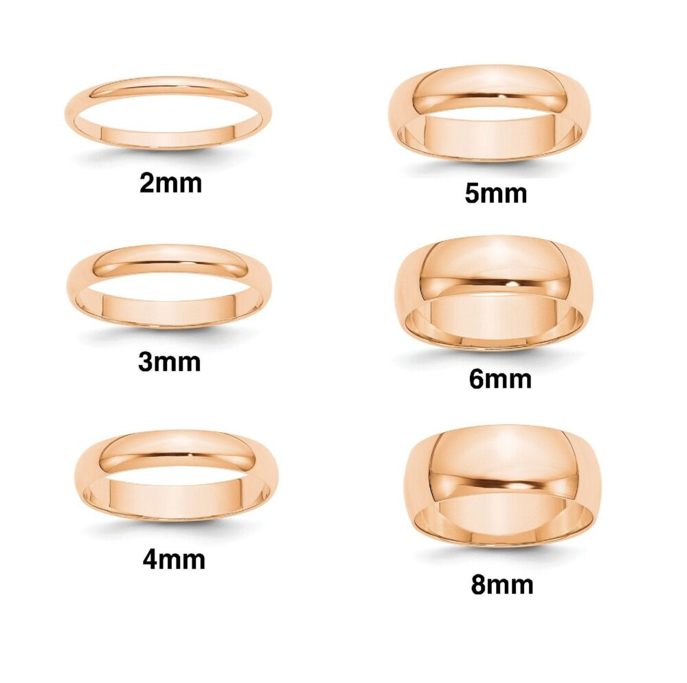 10K Solid Rose Gold Wedding Bands Half Round Style With Free Inside Ring Engraving 2mm 3mm 4mm 5mm 6mm 8mm Widths