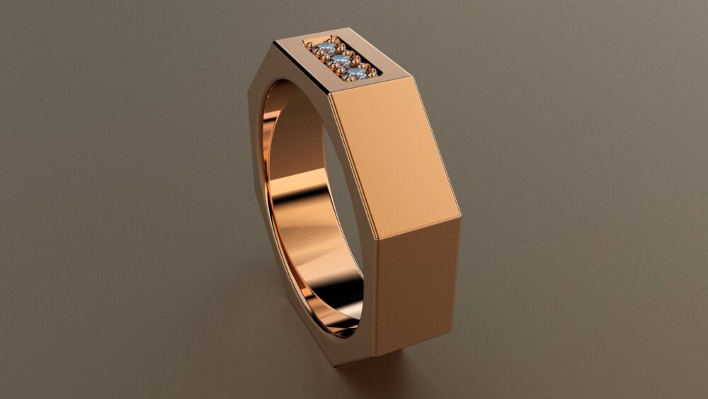 Diamond Rose Gold 6mm Brushed Mens Wedding Band, Matte Satin Octagon 14Kt Pink Ring With 3 Diamonds, Perfect For A Mechanic