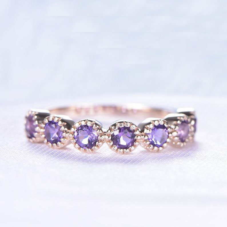 Purple Amethyst Engagement Ring | Women Half Eternity Rose Gold Wedding Band 925 Sterling Silver Jewelry For