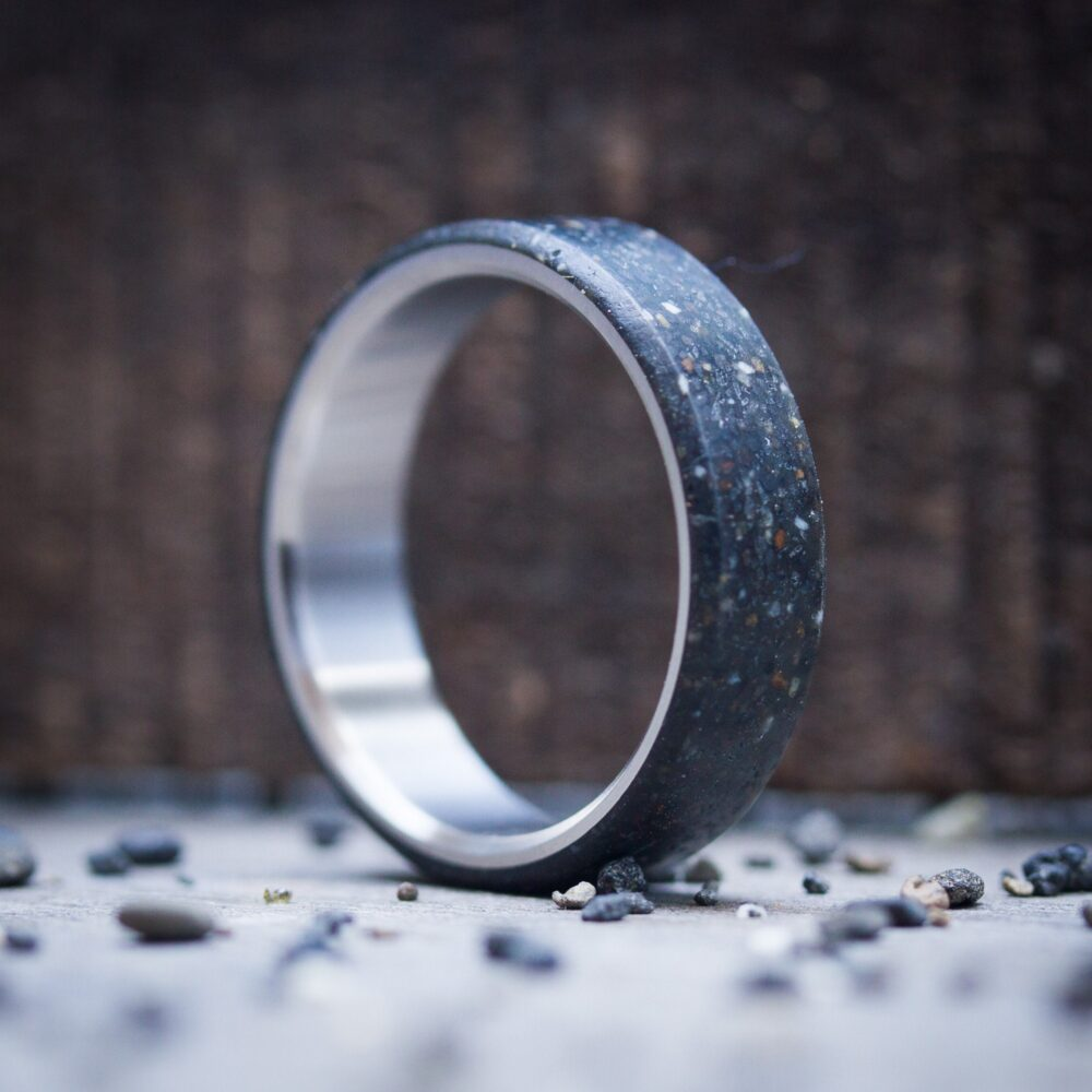 Mens Titanium Wedding Ring With Black Patagonic Stone, Band, Exclusive Natural Stone Engagement Handmade Jewelry, Gifts