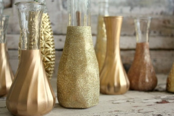 Gold Vases, Set Of 12 Custom Gold Glitter Dipped Vintage Budvases And, Painted Bud Vase, Wedding Table Decor, Vase Collection