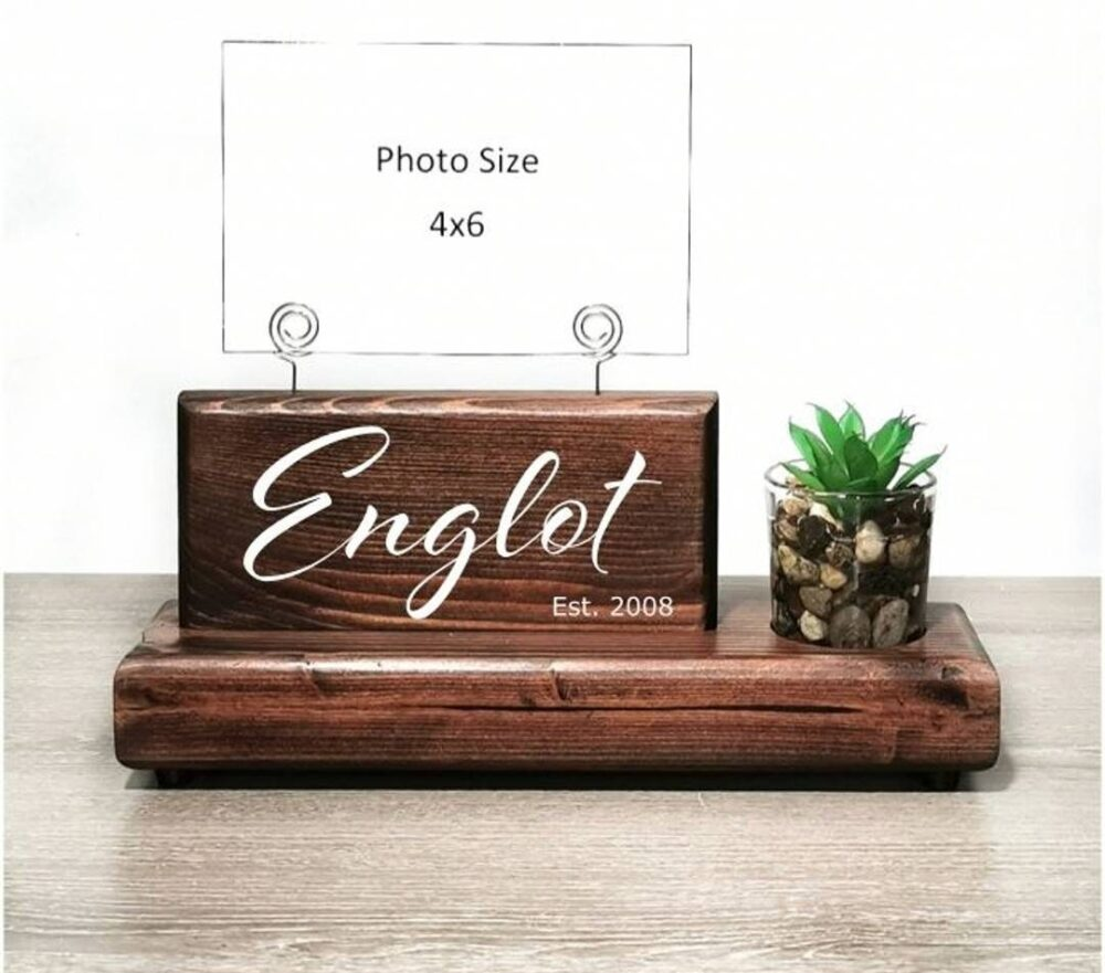 Custom Family Name Picture Display Sign With Glass Bud Vase Or Faux Succulent Planter, Wire Holder, Couples Gift, Wedding Gift