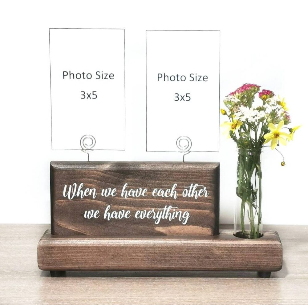 Photo Display Sign With Glass Bud Vase Or Faux Succulent Planter, Wire Picture Holder, Couples Gift Wedding Gift, Best Friend