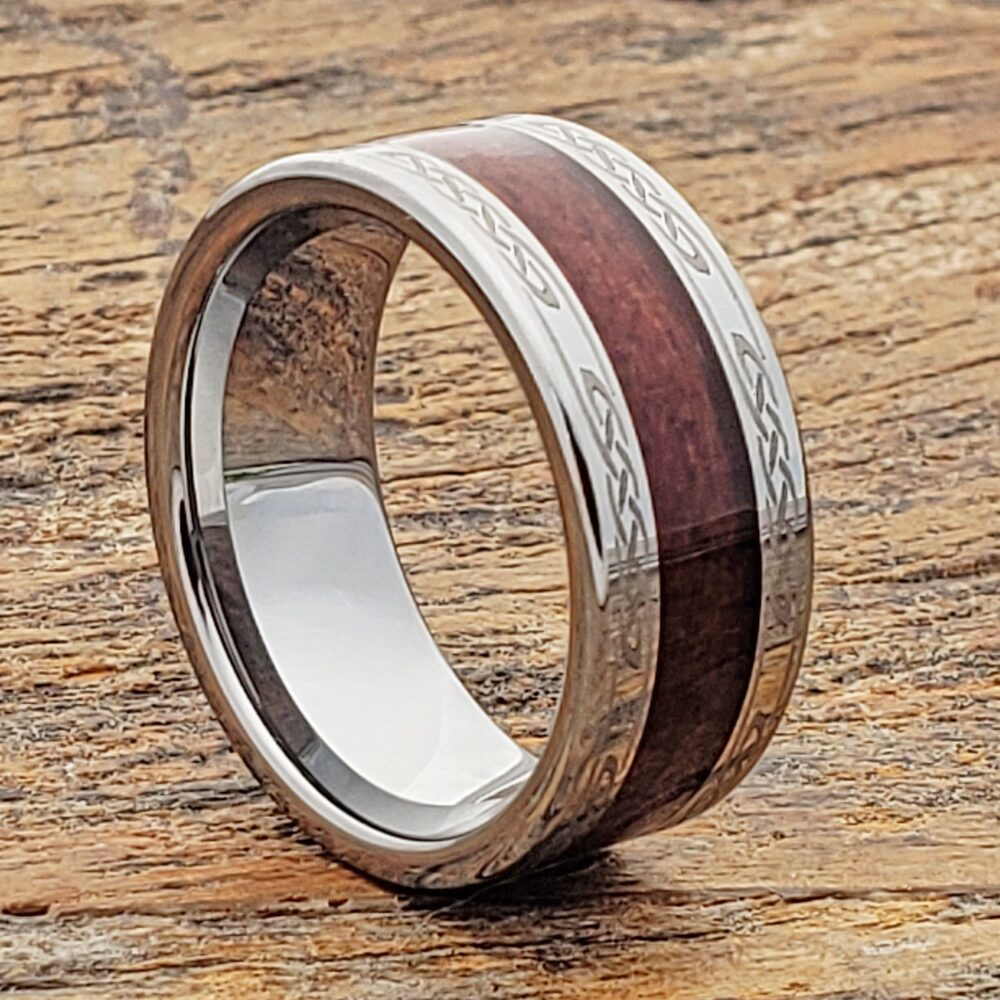 Wood Celtic Irish Ring, Male Wedding Band, Knot Promise Ring For Him, Set, Personalized Tungsten Whiskey Barrel Wooden
