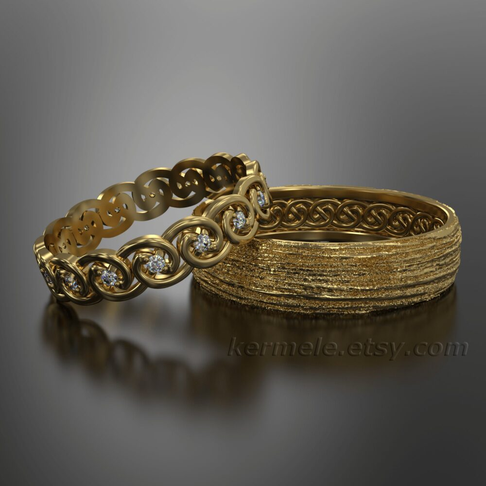 Yellow Diamond Eternity Wedding Celtic Rings Set 5mm For Her & 6mm Him. Bands