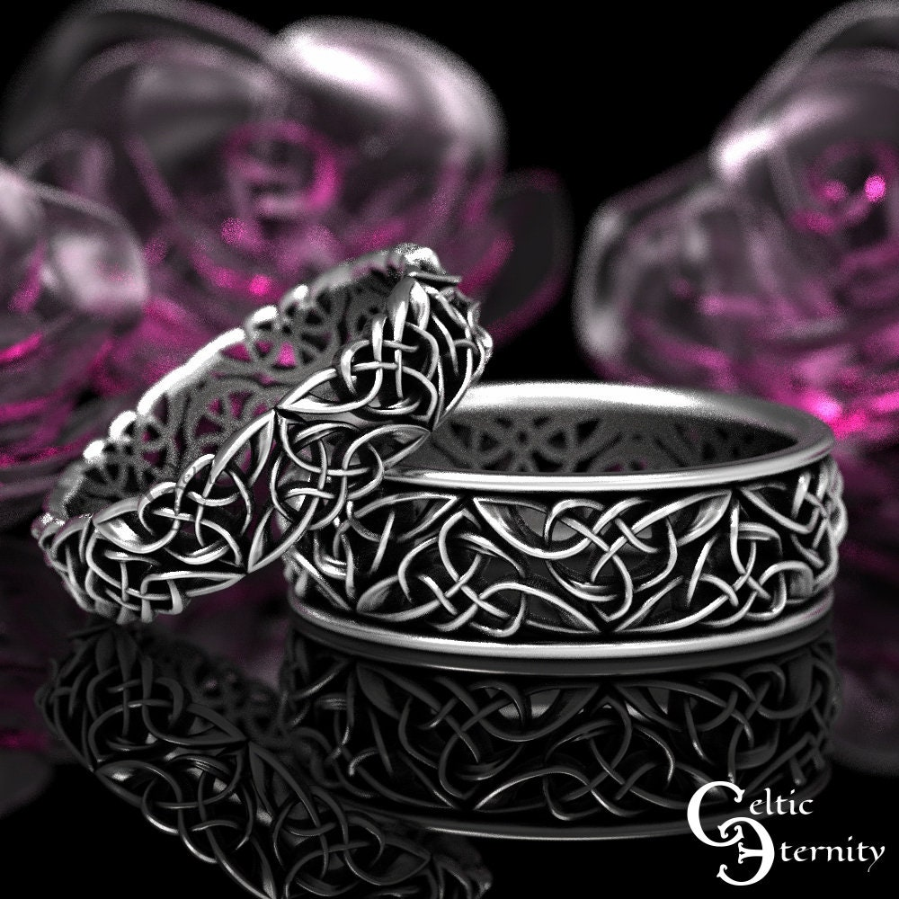Silver Matching Wedding Bands, Celtic Heart Rings, His Hers Unique Modern Ring, 66+1424